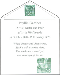 Proposed headstone for Phyllis Gardner